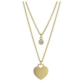 trendor 75068 Necklace for Ladies 925 Silver Gold plated 2 rows