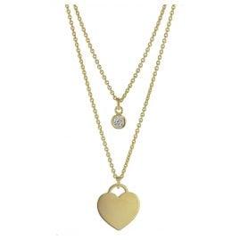 trendor 75068 Halsschmuck für Damen 925 Silber Goldplattiert 2-Reihig
