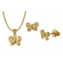 trendor 75110 Schmuckset für Kinder Schmetterling Gold 333 (8 Karat)
