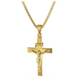 trendor 75286 Kruzifix 24 mm Gold 333 (8 Karat) mit Goldplattierter Kette