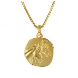 trendor 75322 Anhänger Pferde Gold 333 (8 Karat) mit Vergoldeter Silberkette