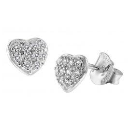 trendor 08771 Silber-Ohrringe Herz mit Zirkonias Pavé