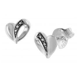 trendor 08781 Silber-Ohrringe Herz mit Markasiten