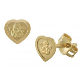 trendor 08822 Heart Earrings with Cupid Gold 585