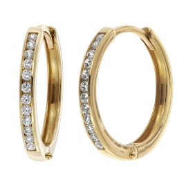 trendor 08828 Hoop Earrings Gold 585 15 mm Cubic Zirconia
