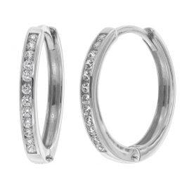 trendor 08830 Hoop Earrings White Gold 585 15 mm Cubic Zirconia