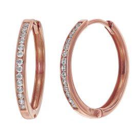 trendor 08832 Hoop Earrings Rose Gold 585 17 mm Cubic Zirconia
