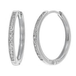 trendor 08833 Hoop Earrings White Gold 585 17 mm Cubic Zirconia
