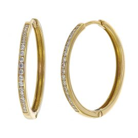 trendor 08834 Hoop Earrings Gold 585 21 mm Cubic Zirconia
