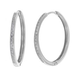 trendor 08835 Hoop Earrings White Gold 585 21 mm Cubic Zirconia