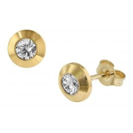 trendor 75085 Damen-Ohrringe Gold 333 mit Zirkonia 7 mm