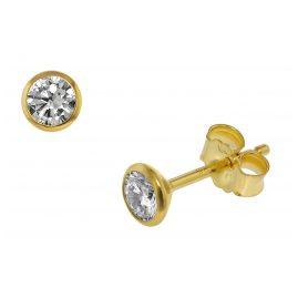 trendor 75100 Ohrstecker für Damen und Herren 585 Gold (14 Kt) Zirkonia 4,5 mm