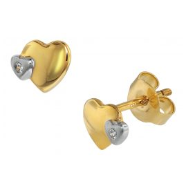 trendor 75108 Kids Earrings 333 Gold/8 ct Two-Tone Double Heart Cubic Zirconia