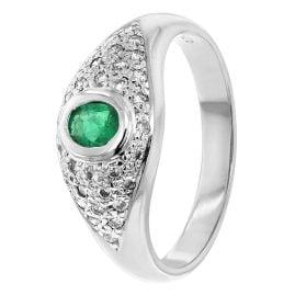trendor 70722 Smaragd-Ring Weißgold