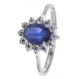 trendor 08786 Silber Ring mit Synth. Saphir und Zirkonias