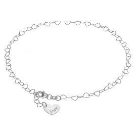 trendor 08302 Fußkette Silber mit Herz-Anhänger