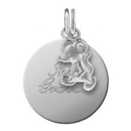 trendor 87622 Silber Kinder Gravur-Anhänger Set Maus