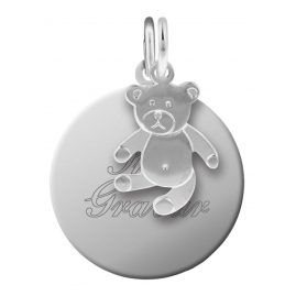 trendor 87677 Silber Kinder Gravur-Anhänger Set Teddy