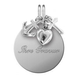 trendor 87738 Silber Gravur-Anhänger Set Glaube, Liebe, Hoffnung