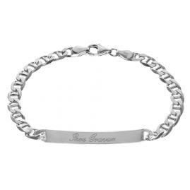 trendor 35675 Gravur-Armband für Herren 925 Sterlingsilber Panzersteg 21 cm