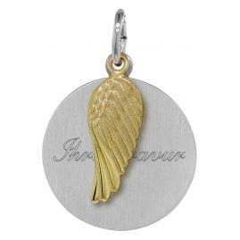 trendor 08279 Silber Gravurplatte mit Flügel-Einhänger