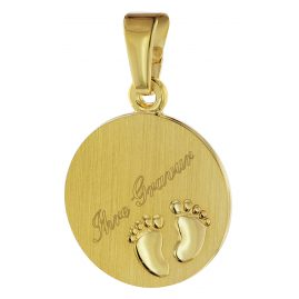 trendor 08307 Gold Pendant Engraving Plate Baby Feet