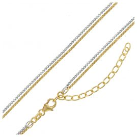 trendor 75150 Ladies' Necklace Box Chain 2-Row Silver 925 Two-Colour