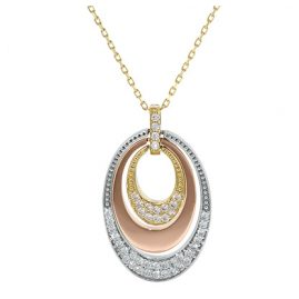 trendor 77981 Three-Colour Pendant Gold Necklace