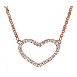 trendor 35960 Damen Silber-Halskette mit Zirkonia-Herz