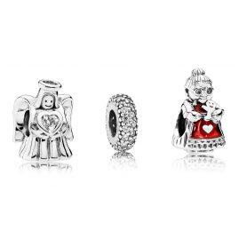 Pandora 08007 Charm-Set Liebesengel und Mrs. Santa Claus