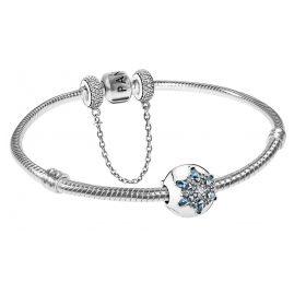 Pandora 35990 Armband mit Sicherheitskette und Clip Eisblaue Schneeflocke