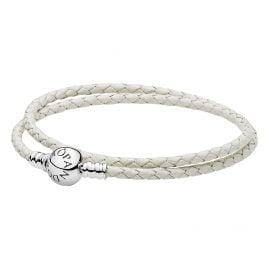 Pandora 590745CIW Double Woven Leather Bracelet White