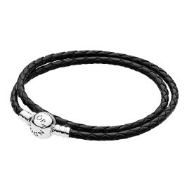 Pandora 590745CBK Ladies Leather Bracelet Double Black