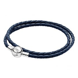 Pandora 590745CDB Ladies Leather Bracelet Double Dark Blue