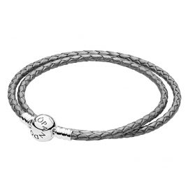 Pandora 590745CSG Leather Bracelet Double Silvergrey