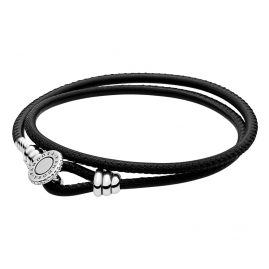 Pandora 597194CBK Leather Bracelet Moments Double Black