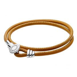 Pandora 597194CGT Leather Bracelet Moments Double Golden