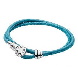 Pandora 597194CTQ Leder-Armband Moments Zweifach Türkis