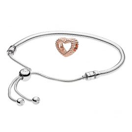 Pandora 08657 Armband-Set Moments Sliding und Beaded Heart Rose