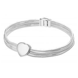 Pandora 75342 Reflexions Silber Damen-Armband Snakes mit Herz-Clip