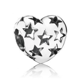 Pandora 791393 Silver Charm Heart with Stars