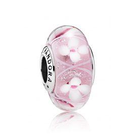 Pandora 791665 Muranoglas Charm Rosafarbene Blumenwiese