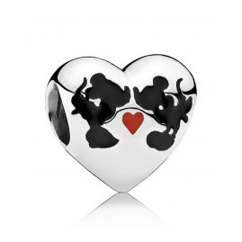 Pandora 791443ENMX Heart Charm Minnie & Mickey Kiss