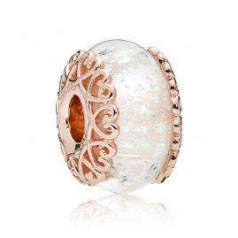 Pandora 787576 Charm Iridescent White Glass Rosé