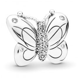 Pandora 797880CZ Silver Fixed Clips Charm Decorative Butterfly