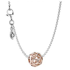 Pandora 08340 Silver Necklace with Pendant Infinity Rose