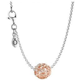 Pandora 08341 Silver Necklace with Pendant Open Your Heart Rose
