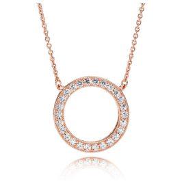 Pandora 580515CZ Damen-Halskette Pandora Logo Rosé