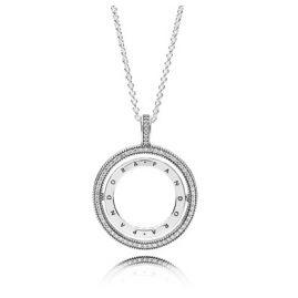 Pandora 397410CZ Ladies' Necklace Spinning Hearts