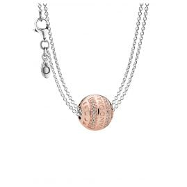 Pandora 08590 Necklace with Charm Pendant Logo Hearts